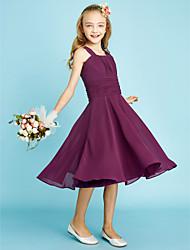cheap -A-Line Straps Knee Length Chiffon Junior Bridesmaid Dress with Draping / Sash / Ribbon / Ruched / Natural