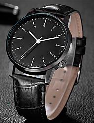 cheap -Men's Fashion Watch Quartz Leather Black Hot Sale Analog Casual - White Black