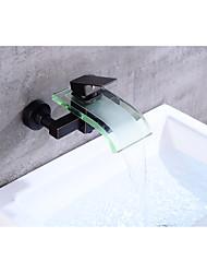 cheap -Bathtub Faucet - Contemporary / Antique Oil-rubbed Bronze Centerset Ceramic Valve Bath Shower Mixer Taps / Brass / Single Handle Two Holes