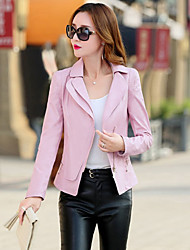 cheap -Women's Beach Cute Leather Jacket-Solid Colored Shirt Collar