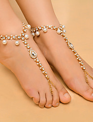 cheap -Women's Synthetic Diamond Barefoot Sandals Tassel Drop Ladies Fashion Yoga Imitation Pearl Anklet Jewelry Gold / Silver For Daily Casual / Rhinestone