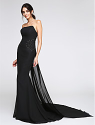 cheap -Mermaid / Trumpet Minimalist Elegant Holiday Cocktail Party Formal Evening Dress Strapless Sleeveless Watteau Train Chiffon with Beading 2021