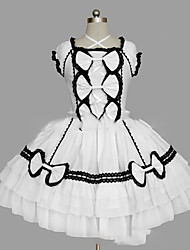 cheap -Princess Sweet Lolita Dress Women's Girls' Cotton Japanese Cosplay Costumes Plus Size Customized White / Black Ball Gown Vintage Cap Sleeve Short Sleeve Short / Mini