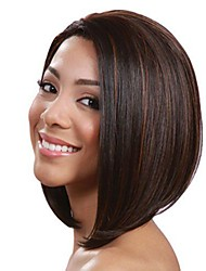 cheap -Synthetic Wig Straight Straight Bob Wig Medium Length Brown Synthetic Hair Women's Highlighted / Balayage Hair Natural Hairline Brown
