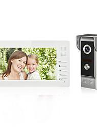 Недорогие -7-дюймовый проводной цветной громкой видео домофон домофон дверной звонок один монитор с водонепроницаемой 700tvline cmos камеры настенный монтаж громкой связи