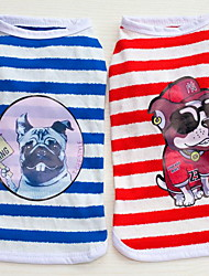 cheap -Other Jumpsuit Dog Clothes Stripes Red Blue Cotton Costume For Summer Men's Women's Casual / Daily