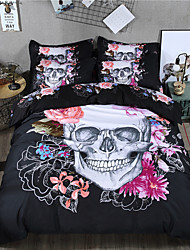 cheap -Duvet Cover Sets 3 Piece 100% Polyester 3D Black Reactive Print Halloween / 300 / 3pcs (1 Duvet Cover, 2 Shams) / (If Twin size, only 1 Sham or Pillowcase)