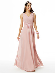 cheap -A-Line V Neck Floor Length Chiffon Bridesmaid Dress with Criss Cross / Pleats