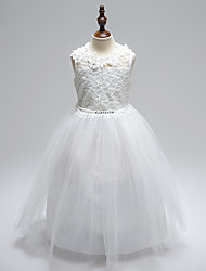 cheap -Ball Gown Floor Length Wedding / First Communion Flower Girl Dresses - Lace / Tulle Sleeveless Jewel Neck with Sash / Ribbon / Bow(s) / Appliques / Open Back