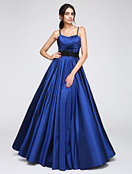 cheap -A-Line Holiday Cocktail Party Prom Dress Spaghetti Strap Sleeveless Floor Length Taffeta with Criss Cross Appliques 2020 / Formal Evening