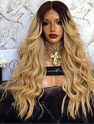 cheap -Remy Human Hair Glueless Lace Front Lace Front Wig Brazilian Hair Body Wave Wig 150% Density with Baby Hair Ombre Hair Natural Hairline African American Wig 100% Hand Tied Women's Short Medium Length