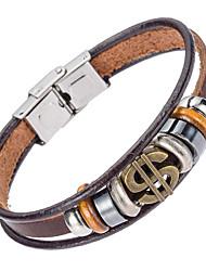 Недорогие -Муж. Кожаные браслеты Природа Мода Кожа Браслет Ювелирные изделия Коричневый Назначение Особые случаи Подарок Спорт