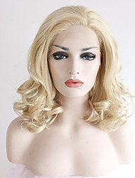 cheap -good looking blonde lace wigs heat resistant blonde curly synthetic lace front wigs glueless medium length beat natural looking blonde wig for women