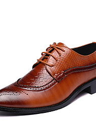cheap -Men's Formal Shoes Leather Spring / Fall British Oxfords Walking Shoes Black / Red / Brown / Wedding / Party & Evening / Split Joint / Party & Evening / Fashion Boots