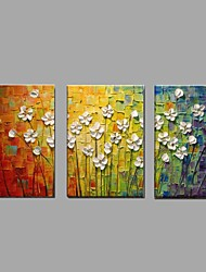 cheap -Oil Painting Hand Painted - Floral / Botanical Pastoral / Modern Canvas / Three Panels 50 x 40 cm