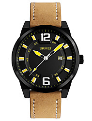 cheap -SKMEI Men's Wrist Watch Japanese Quartz 30 m Water Resistant / Water Proof Calendar / date / day Cool Leather Band Analog Casual Fashion Dress Watch Brown - Yellow Green Blue