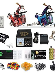 cheap -Tattoo Machine Professional Tattoo Kit High Quality Analog power supply 2 x stainless steel grip 50 Classic Daily