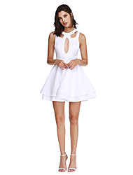 cheap -A-Line / Fit & Flare Jewel Neck Short / Mini Jersey Cute / Keyhole / Cut Out Cocktail Party / Homecoming / Prom Dress 2020 with Buttons
