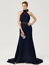 cheap -Sheath / Column High Neck Court Train Chiffon Elegant Holiday / Cocktail Party / Formal Evening Dress with Sash / Ribbon / Bow(s) / Pleats 2020