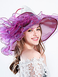 cheap -Feather / Silk / Organza Kentucky Derby Hat / Fascinators / Hats with Floral 1pc Wedding / Special Occasion / Party / Evening Headpiece