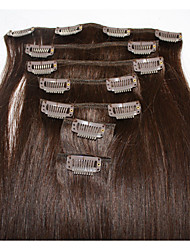 cheap -Clip In Human Hair Extensions Straight Human Hair Human Hair Extensions Brazilian Hair Women's Dark Brown