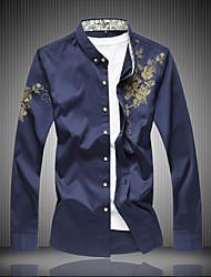 cheap -Men's Daily Plus Size Cotton Slim Shirt - Floral Print Black / Long Sleeve / Spring / Fall