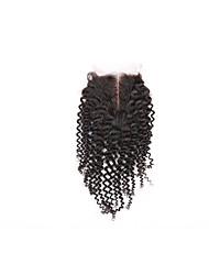 Недорогие -Бразильские волосы 4x4 Закрытие Кудрявый / Kinky Curly Бесплатный Часть / Средняя часть / 3 Часть Швейцарское кружево Натуральные волосы