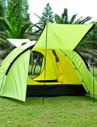 cheap -4 person Tent Outdoor Rain Waterproof Dust Proof Foldable Double Layered Camping Tent 1500-2000 mm for Camping / Hiking Outdoor Nylon Polyester Taffeta
