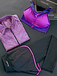 cheap -Women's Activewear Set Yoga Suit Athletic Compression Clothing Spandex Yoga Fitness Pilates Exercise & Fitness Running Jogging Cycling Quick Dry Camping & Hiking Sport Purple Red Fuchsia Blue Solid