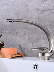 cheap -Bathroom Sink Faucet - Widespread Nickel Brushed Centerset Single Handle One HoleBath Taps