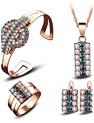 cheap -Women's Crystal AAA Cubic Zirconia Bridal Jewelry Sets Fashion Euramerican Gold Plated Earrings Jewelry Gold For Wedding Party Event / Party Dailywear