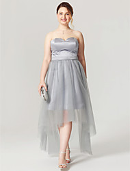 cheap -A-Line Open Back See Through Holiday Homecoming Cocktail Party Dress Sweetheart Neckline Sleeveless Asymmetrical Satin Tulle with Sash / Ribbon Pleats 2020 / Prom