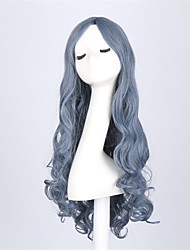 cheap -Synthetic Hair Wigs Wavy Capless Natural Wigs Long Blue
