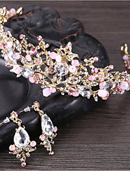 cheap -Women's Crystal Tiaras Flower Basic Natural Crystal Rhinestone Earrings Jewelry White / Pink For Wedding Anniversary Event / Party Engagement Ceremony