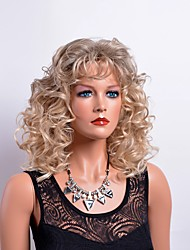 cheap -Synthetic Wig Curly Curly With Bangs Wig Blonde Medium Length Blonde Synthetic Hair Women's Blonde