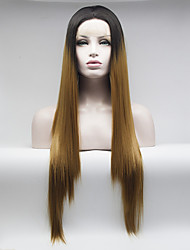 cheap -Synthetic Lace Front Wig Straight Straight Lace Front Wig Medium Length Long Black / Strawberry Blonde Synthetic Hair Women's Brown