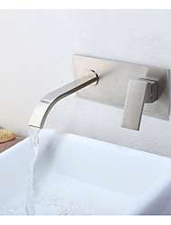 cheap -Bathroom Sink Faucet - Waterfall Nickel Brushed Wall Mounted Single Handle Two HolesBath Taps