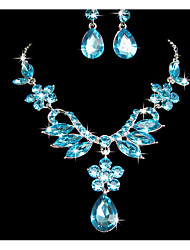 cheap -Women's Jewelry Set Pendant Flower Rhinestone Earrings Jewelry Purple / Blue For Wedding Party Special Occasion Anniversary Birthday