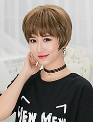 cheap -Synthetic Wig Straight Straight Bob Pixie Cut With Bangs Wig Short Flaxen Chestnut Brown Ash Brown Grey Dark Brown Synthetic Hair Women's Brown Gray