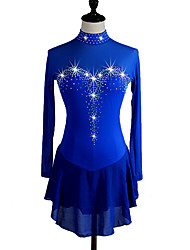 cheap -Figure Skating Dress Women's Girls' Ice Skating Dress Dark Navy Aquamarine High Elasticity Competition Skating Wear Quick Dry Anatomic Design Handmade Classic Long Sleeve Ice Skating Figure Skating