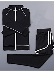 cheap -Women's 2-Piece Activewear Set Workout Outfits Athletic Long Sleeve 2pcs Spandex Cycling Quick Dry Camping & Hiking Yoga Fitness Gym Workout Pilates Exercise & Fitness Sportswear Compression Clothing