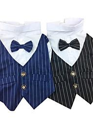 cheap -Dog Tuxedo Winter Dog Clothes Black Blue Costume Cotton Stripes Wedding