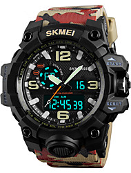cheap -SKMEI Men's Sport Watch Military Watch Wrist Watch Japanese Quartz Quilted PU Leather 50 m Water Resistant / Waterproof Alarm Calendar / date / day Analog - Digital Fashion - Camouflage Brown Two