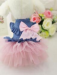 cheap -Dog Dress Dog Clothes White Pink Costume Chiffon Denim Jeans Casual / Daily XS S M L XL XXL