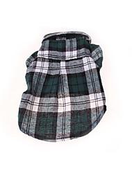 abordables -Chien Tee-shirt Vêtements pour Chien Vert Rouge Bleu Costume Coton Tartan Décontracté / Quotidien XS S M L XL