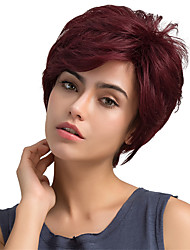 cheap -Human Hair Blend Wig Straight Classic Short Hairstyles 2020 Berry Classic Straight Machine Made Red Daily