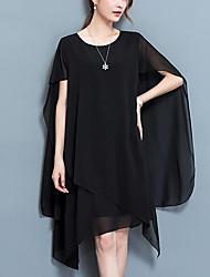 cheap -Women's Asymmetrical Plus Size Red Black Dress Street chic Summer Weekend Chiffon Solid Colored Black L XL