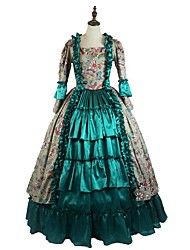 cheap -Rococo Victorian Costume Women's Girls' Party Costume Green Vintage Cosplay Padded Fabric Taffeta Long Sleeve Ankle Length Halloween Costumes