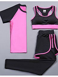 cheap -Women's 2-Piece Activewear Set Workout Outfits Athletic Short Sleeve 2pcs Spandex Cycling Fitness, Running & Yoga Boating Yoga Fitness Gym Workout Pilates Exercise & Fitness Sportswear Compression