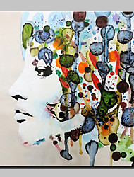 Недорогие -Hang-роспись маслом Ручная роспись - Люди Абстракция Modern Без внутренней части рамки / Рулонный холст